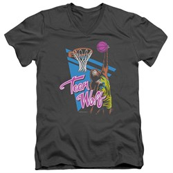 Teen Wolf Slim Fit V-Neck Shirt Slam Dunk Charcoal Tee T-Shirt