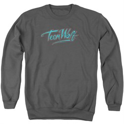 Image of Teen Wolf Sweatshirt Neon Logo Adult Charcoal Sweat Shirt