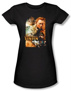 Image of Adventures Of Tintin Juniors T-Shirt Adventure Poster Black Shirt