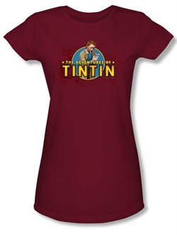 Image of Adventures Of Tintin Juniors T-Shirt Looking For Clues Cardinal Tee