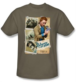 Image of Adventures Of Tintin Kids T-Shirt I'm A Reporter Safari Green Tee
