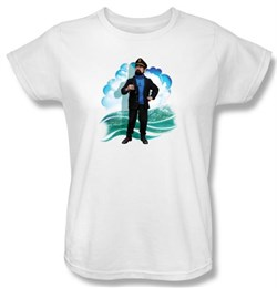 Image of Adventures Of Tintin Ladies T-Shirt Captain Haddock White Tee Shirt