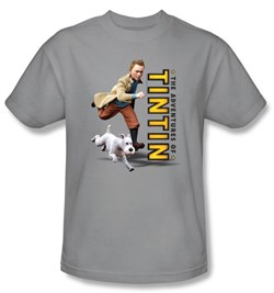 Image of Adventures Of Tintin T-Shirt Come On Snowy Silver Adult Tee Shirt