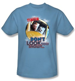 Image of Adventures Of Tintin T-Shirt Dont Look Now Carolina Blue Tee Shirt