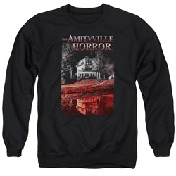 Image of The Amityville Horror Sweatshirt Cold Red Adult Black Sweat Shirt