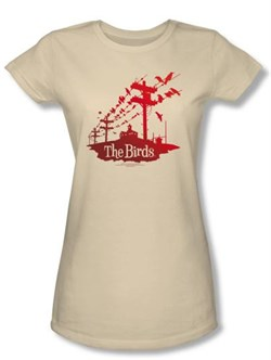 Image of The Birds Juniors T-shirt Movie Birds On A Wire Cream Tee Shirt
