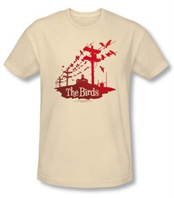 Image of The Birds T-shirt Movie Birds On A Wire Adult Cream Tee Shirt