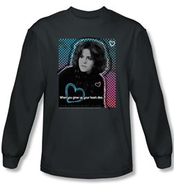 Image of The Breakfast Club T-shirt Movie Heart Dies Charcoal Long Sleeve Shirt