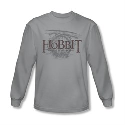 The Hobbit Battle Of The Five Armies Shirt Door Logo Long Sleeve Silver Tee T-Shirt