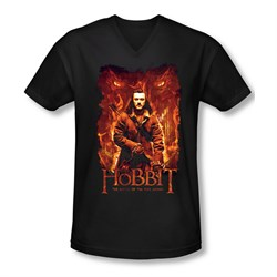 Image of The Hobbit Battle Of The Five Armies Shirt Slim Fit V Neck Fates Black Tee T-Shirt