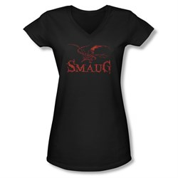 The Hobbit Desolation Of Smaug Shirt Juniors V Neck Dragon Black Tee T-Shirt