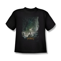Image of The Hobbit Desolation Of Smaug Shirt Kids At Smaug's Door Black Youth Tee T-Shirt