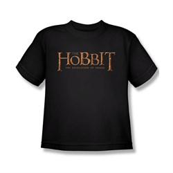 Image of The Hobbit Desolation Of Smaug Shirt Kids Desolation Of Smaug Logo Black Youth Tee T-Shirt