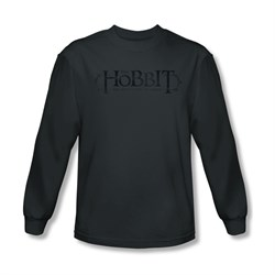 Image of The Hobbit Desolation Of Smaug Shirt Ornate Logo Long Sleeve Charcoal Tee T-Shirt