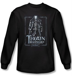 Image of The Hobbit Shirt Movie Unexpected Journey Thorin Black Long Sleeve