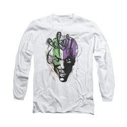 The Joker Shirt Airbush Long Sleeve White Tee T-Shirt