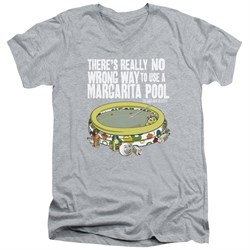 Image of The Last Man On Earth Slim Fit V-Neck Shirt Margarita Pool Athletic Heather T-Shirt