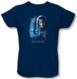 The Lord Of The Rings Ladies T-Shirt Aragorn Navy Blue Tee Shirt