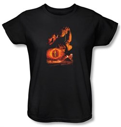 The Lord Of The Rings Ladies T-Shirt Destroy The Ring Black Tee Shirt