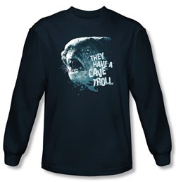 The Lord Of The Rings Long Sleeve T-Shirt Cave Troll Navy Tee Shirt