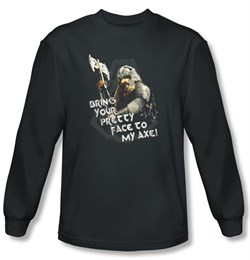 Lord Of The Rings Long Sleeve T-Shirt Gimli With Axe Charcoal Tee