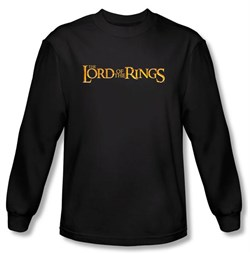 Image of The Lord Of The Rings Long Sleeve T-Shirt LOTR Logo Black Tee Shirt