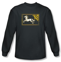 Lord Of The Rings T-Shirt Rohan Banner Charcoal Long Sleeve Tee