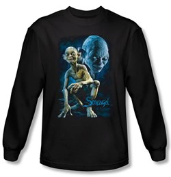 Image of The Lord Of The Rings Long Sleeve T-Shirt Smeagol Black Tee Shirt