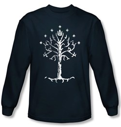 Lord Of The Rings Long Sleeve T-Shirt Tree Of Gondor Navy Tee