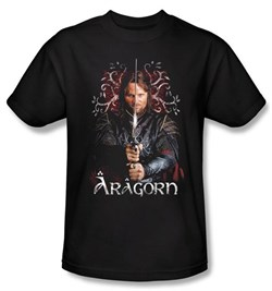 The Lord Of The Rings T-Shirt Aragorn 2 Adult Black Tee Shirt