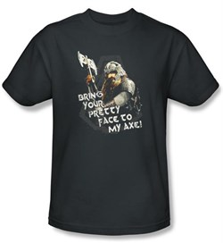 The Lord Of The Rings T-Shirt Gimli With Axe Adult Charcoal Tee Shirt