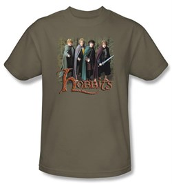 The Lord Of The Rings T-Shirt Hobbits Adult Safari Green Tee Shirt