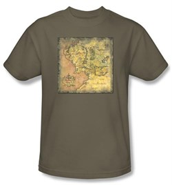 The Lord Of The Rings T-Shirt Middle Earth Map Adult Safari Tee Shirt