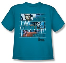 Image of The Six Million Dollar Man Shirt Kids Better Stronger Turquoise Youth Tee