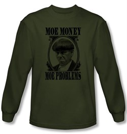 Image of Three Stooges Shirt Moe Money Funny Adult Green Long Sleeve T-Shirt