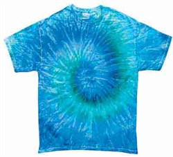 Image of Tie Dye T-shirt Blue Jerry Retro Vintage Groovy Adult Tee Shirt