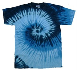 Image of Tie Dye T-shirt Blue Ocean Retro Vintage Groovy Adult Tee Shirt