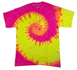 Image of Tie Dye T-shirt Fluorescent Swirl Yellow Pink Swirl Adult Tee Shirt