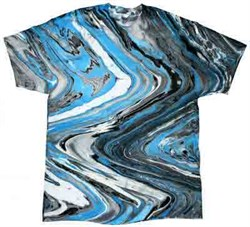 Image of Tie Dye T-shirt Marble Blue Tiger Retro Vintage Groovy Adult Tee Shirt