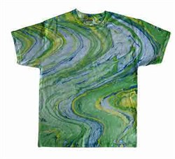 Image of Tie Dye T-shirt Marble Lime Retro Vintage Groovy Adult Green Tee Shirt