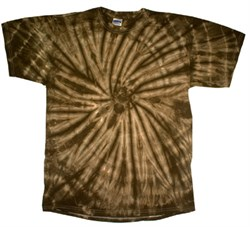 Image of Tie Dye T-shirt Spider Brown Retro Vintage Groovy Adult Tee Shirt