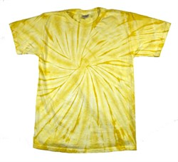 Image of Tie Dye T-shirt Spider Dandelion Retro Vintage Adult Yellow Tee Shirt