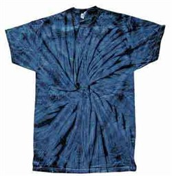 Image of Tie Dye T-shirt Spider Navy Retro Vintage Groovy Blue Adult Tee Shirt
