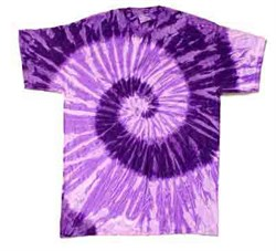 Image of Tie Dye T-shirt Spiral Purple Retro Vintage Groovy Adult Tee Shirt