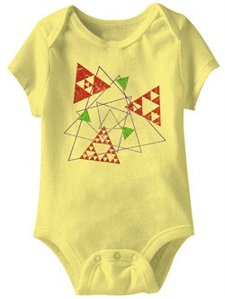 Image of Triangle Shape Funny Baby Romper Yellow Infant Babies Creeper