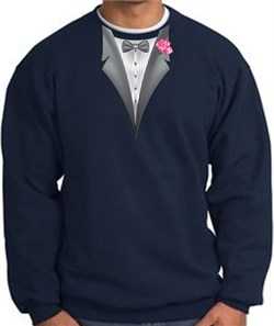 Image of Tuxedo Sweatshirt With Pink Flower - Navy