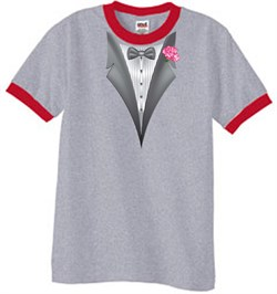 Image of Tuxedo T-Shirt Ringer With Pink Flower - Heather Grey/Red