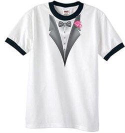 Image of Tuxedo T-Shirt Ringer With Pink Flower - White/Black
