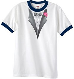 Image of Tuxedo T-Shirt Ringer With Pink Flower - White/Navy