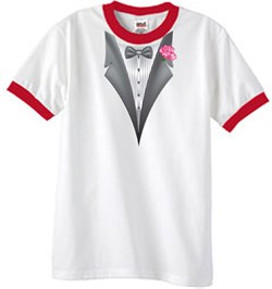 Image of Tuxedo T-Shirt Ringer With Pink Flower - White/Red